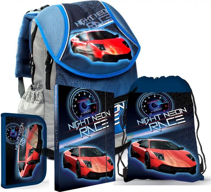 Karton P+P Školní set batoh, penál, sáček, desky AUTO | MALL.CZ