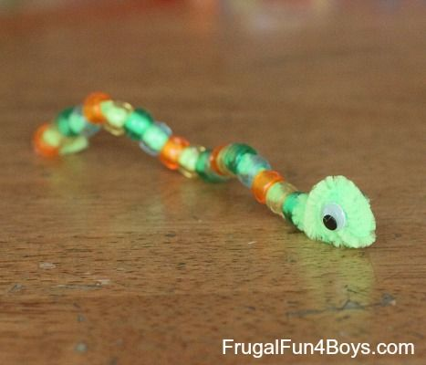 Pipe Cleaner Animals- Make snake; then use pony beads for pattern making