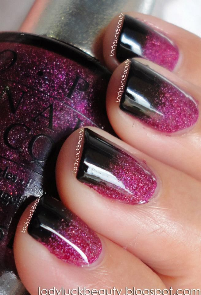 Black and Pink Gradient nails - Tutorial! ~ LadyLuck Beauty