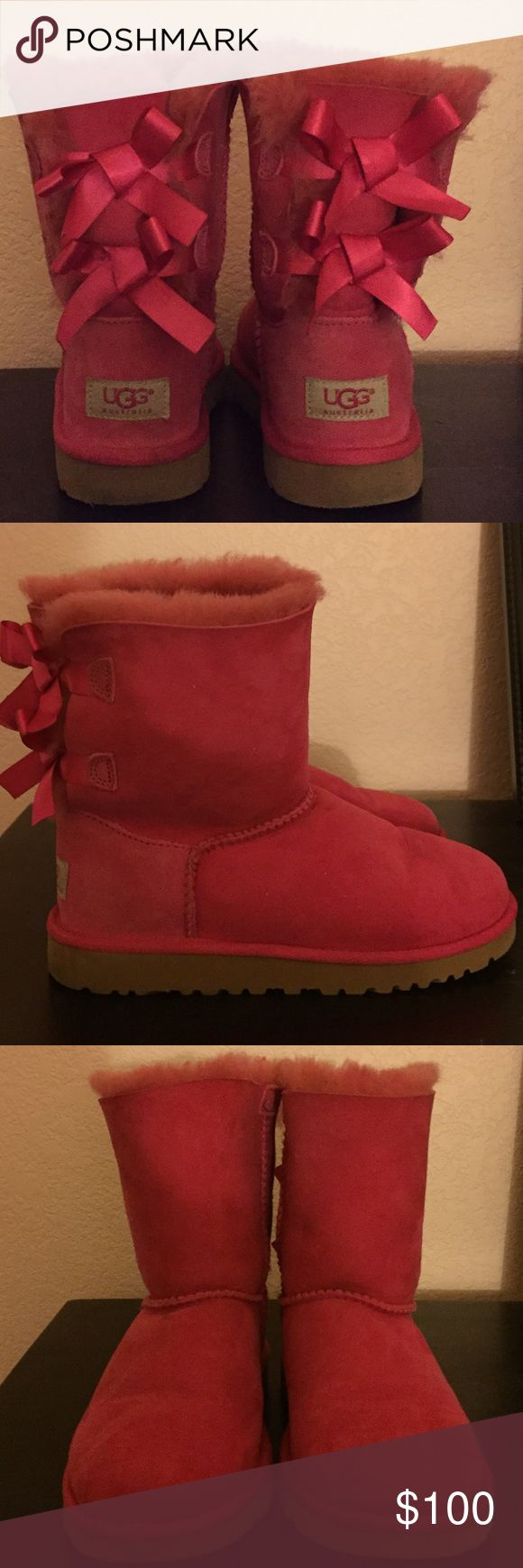 "Kids UGG boots Hot Pink ""Bailey Bow"" Kids size 3 UGG boots. Look new maybe worn 2-3 times. ugg Shoes Boots"