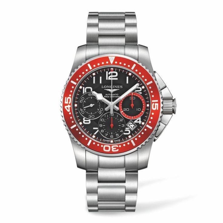 L36964596 Ανδρικό αυτόματο ρολόι LONGINES HydroConquest με χρονογράφο, μπρασελέ, μαύρο καντράν, κόκκινη στεφάνη & ημερομηνία | LONGINES Χαλάνδρι #hydroconquest #chronograph #longines #ρολόι