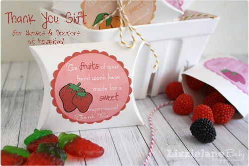 Thank You Gift for Hospital Staff after baby delivery - #free #thankyou #tags
