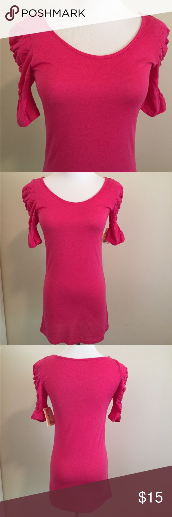 "🆕 NWT Energie Hot Pink Blouse Brand new with tag and never worn, Energie brand hot pink lightweight blouse with 3/4 ruched sleeves. Blouse runs on the longer side and measures approximately 27"" long, so perfect for the taller girls. Form fitting size Medium. In new condition. Please ask any questions. Open to reasonable offers. Energie Tops Blouses"