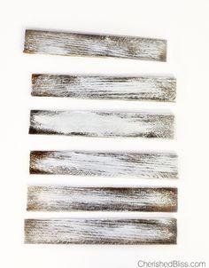 Donner au bois un aspect vieilli avec du vernis, de la peinture acrylique blanche et de la laine d'acier