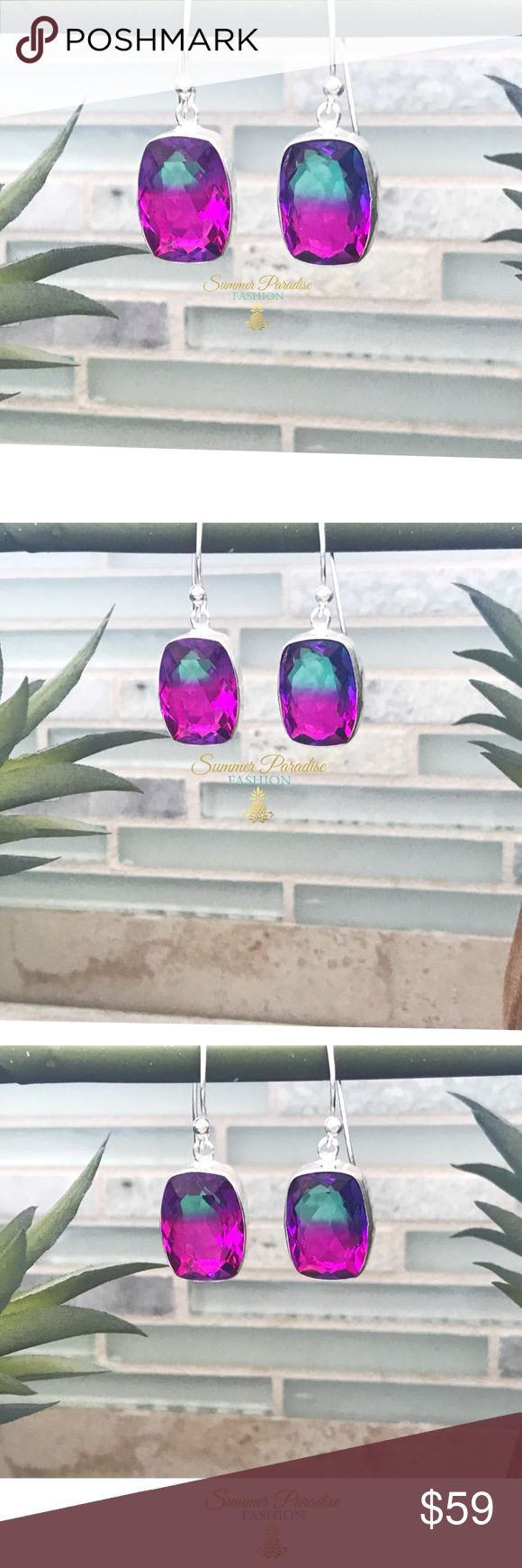NWT 925 SILVER TOURMALINE EARRINGS Stunning handmade 4 carat, 925 Stamped Silver Bi-Color Tourmaline Earrings. 1.4 inch drop length, tourmaline is 0.75 x 0.5 inches.  ⭐️Storage pouch included.                                                                                     ⭐️Priced for offers! Open to reasonable offers! TAGS: tourmaline earrings, 925 sterling silver, handmade earrings Summer Paradise Jewelry Earrings #SterlingSilverStorage