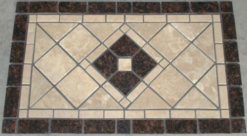 Tan Brown Granite Mosaic Backsplash Medallion Tile Design