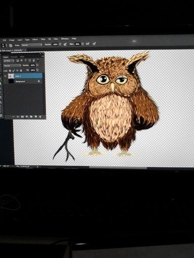 Old owl(photoshop drawing)