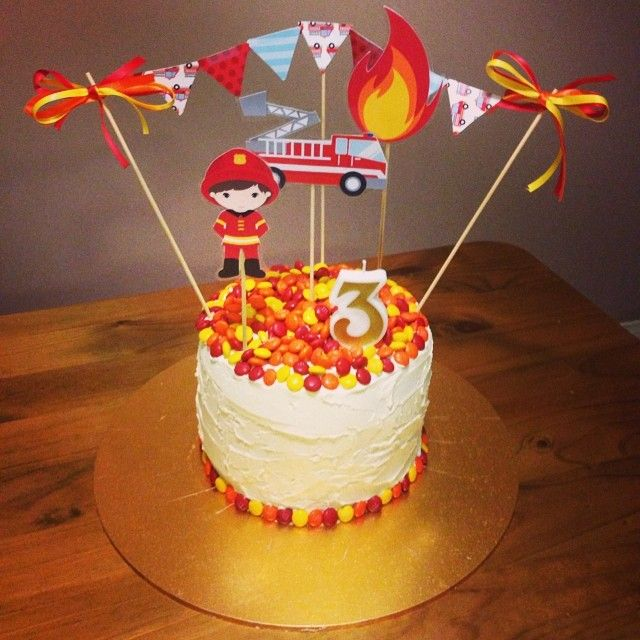 Fire themed birthday cake for my little man's 3rd birthday xxx