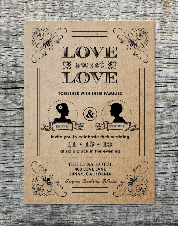 diy cd wedding invitations%0A Items similar to Vintage Wedding Invitation  u     RSVP Card with Silhouette of  Couple  Hand Drawn Graphics  DIY Printable on Etsy