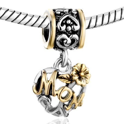 Mothers Day Gifts Pugster Flower Love Mom Family Charm Fits Pandora Charm For Mother $12.49 #bestseller