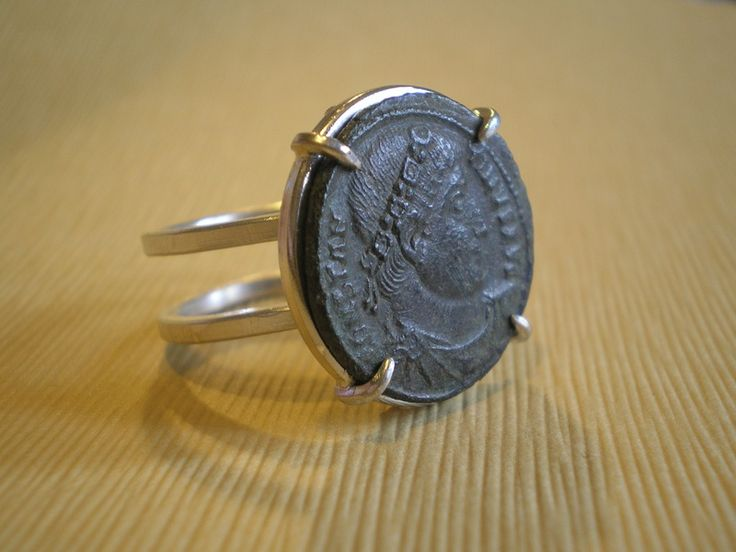 Roman Coin Ring.  Bronze roman coin mounted on Sterling Silver