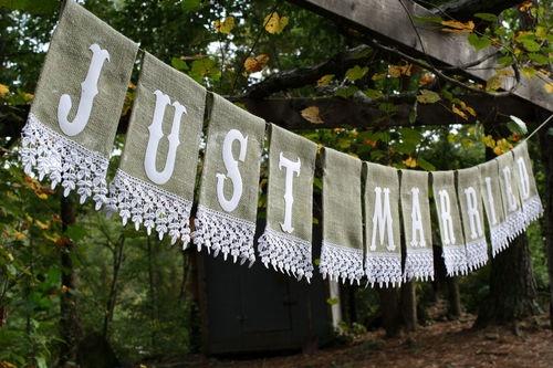 LG Burlap Just Married Wedding Banner Decoration Inside Outside Sage Handmade | eBay