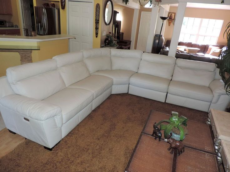 Natuzzi Julius 5Pc Triple Electric Reclining Optic White Leather Sectional Sofa #Natuzzi #Modern