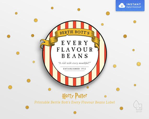 graphic regarding Bertie Botts Every Flavor Beans Printable referred to as Harry Potter Celebration Printable Bertie Botts Every single Flavour