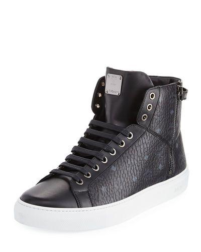 MCM Visetos High-Top Sneaker, Black. #mcm #shoes #