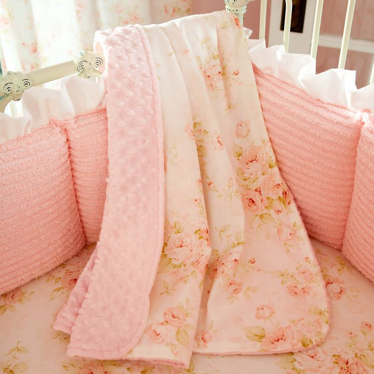 Baby Girl Crib Bedding: Pink Floral Crib Blanket by Carousel Designs by CarouselDesignsShop on Etsy https://www.etsy.com/listing/183786440/baby-girl-crib-bedding-pink-floral-crib