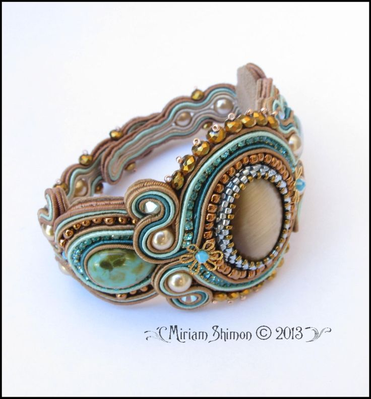 Soutache bracelet in Mint Chocolate Cream and Gold by MiriamShimon, $125.00