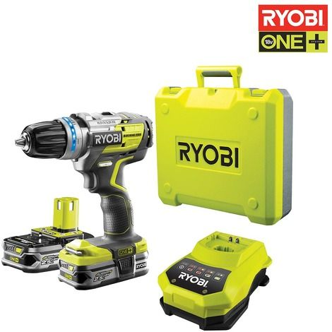 Perceuse-visseuse Brushless RYOBI OnePlus Lithium-ion - 2 batteries 2.5 Ah - Chargeur - Coffret - R18DDBL-LL25B - Outillage