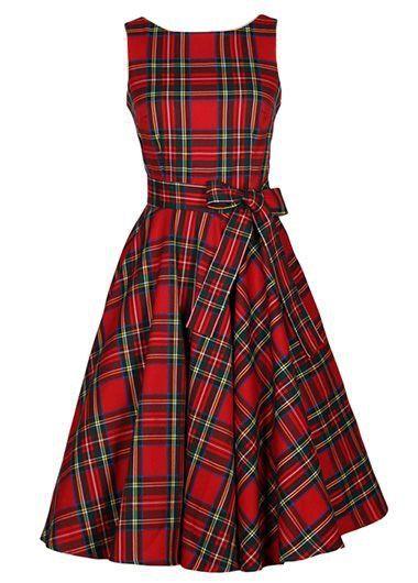 Vintage 50s Style Red Plaid Tartan Print Swing Party Dress: