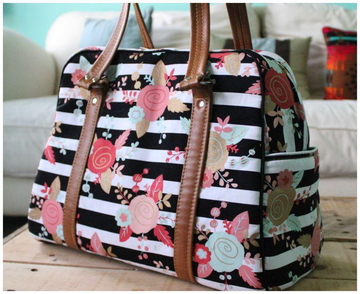 Vivan bag - traveler - weekender bag - on the go bag - floral diaper bag - stripe diaper bag by CraftyFrogDesigns on Etsy https://www.etsy.com/listing/281173978/vivan-bag-traveler-weekender-bag-on-the