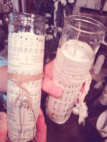 A simple way to spruce up candles for your wedding.  Wrap them in old sheet music or pages from old hymnals.