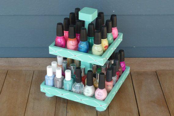 Tiffany Inspired Nail Polish 2 Tier Table Top by NLpalletcreatives