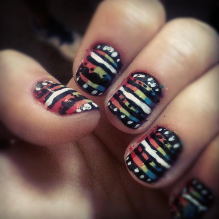 Rainbow tribal nails