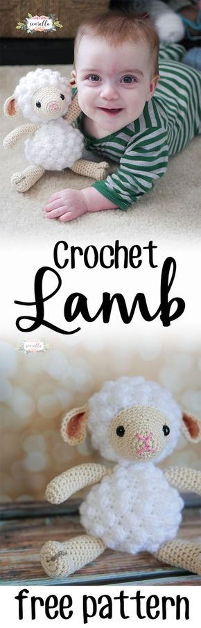 Little crochet lamb amigurumi pattern   perfect for baby showers, new mom gifts, or kids birthdays!   Free pattern from Sewrella #ad #BearyMerryVTechMom /VTechUSA/