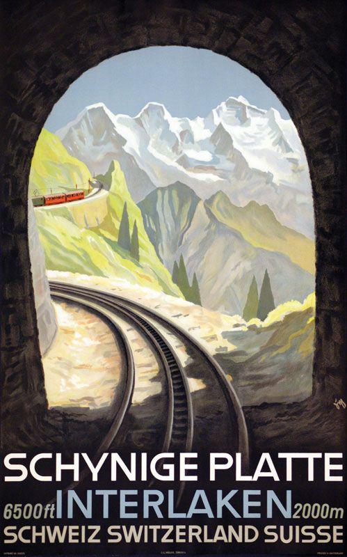 Schynige Platte. Interlaken. Schweiz. Plakat von Alex Diggelmann.