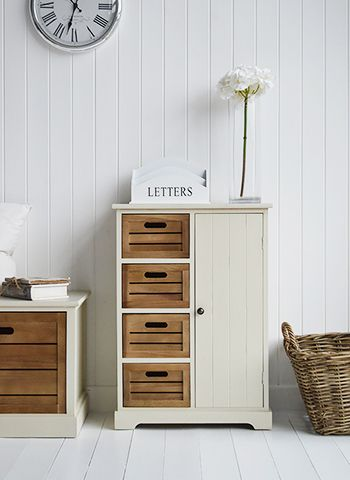 Storage furniture with cupboard and 4 drawers. Country Cottage hall furniture. The White Lighthouse offers a range of furniture and accessories with a combination of Coastal, Scandi, Danish, French, Shabby Chic and New England styles