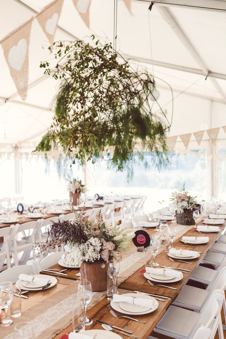 Wedding marquee hanging greenery installation by Shady Fig. Photographed by Red Berry Photography.