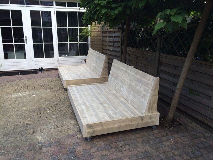 Loungebank steigerhout | steigerhouten meubelen | tuin meubelen | loungebank super | op wielen