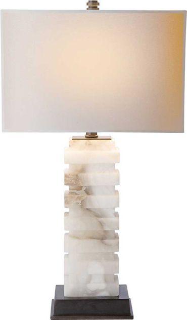 RECTANGULAR FORM TABLE LAMP IN ALABASTER