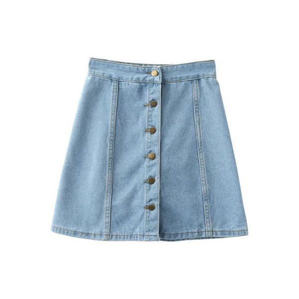 SheIn(sheinside) Light Blue Empire Waist Buttons Front Denim Skirt ($19) ❤ liked on Polyvore featuring skirts, bottoms, blue, a line denim skirt, button front a line skirt, blue skirt, denim skirt and short denim skirts