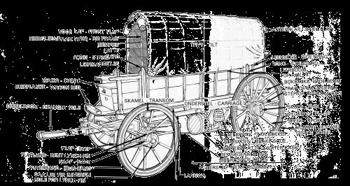 The Great Trek: A detailed sketch of an ox wagon (ossewa).