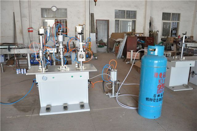 Adhesive Remover Aerosol filling machine     More: https://www.aerosolmachinery.com/sale/adhesive-remover-aerosol-filling-machine.html