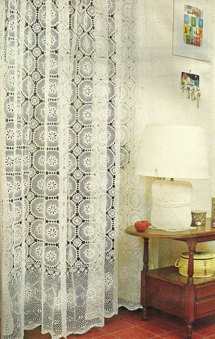 Crochet shower curtains - Tejidos Artesanales Cortina Con Motivos De Cenefa Crochet Curtainscrochet