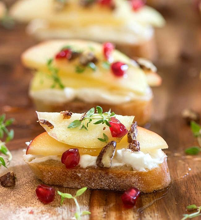 Honey Crisp Apple Crostini with Whipped Goat Cheese and Candied Pecans via Simply Fresh Dinners