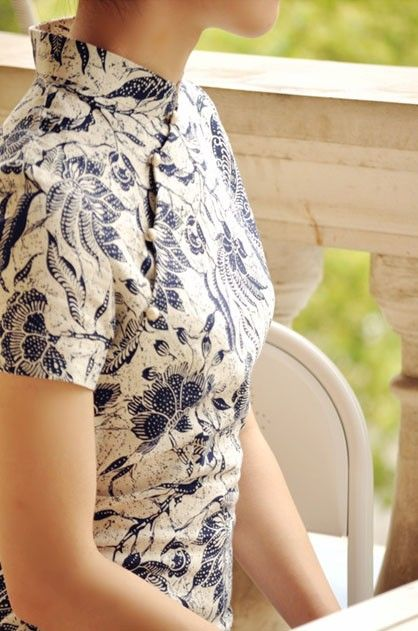Chinese Qipao with Blue-and-White Print