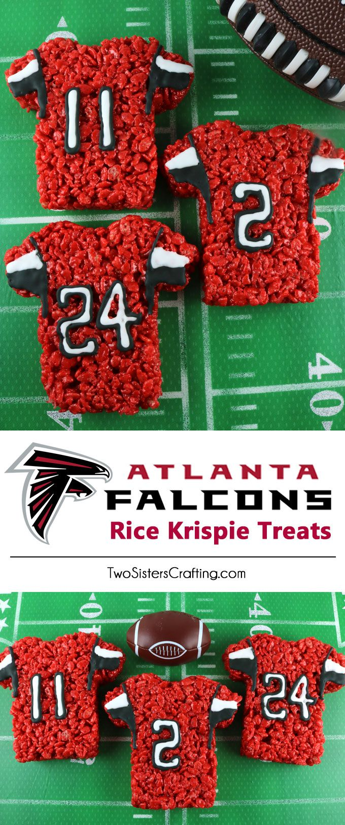 These Atlanta Falcons Rice Krispie Treats Team Jerseys are a fun football dessert for a game day football party, an NFL playoff party, a Super Bowl party or as a special snack for the Atlanta Falcons fans in your life. Go Falcons! And follow us for more fun Super Bowl Food Ideas.