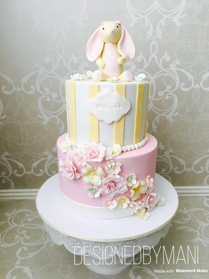 Bunny Themed 1st Birthday Cake With Pastel Shades Flowers Made Out Of Fondant Shaded Edible Chalk