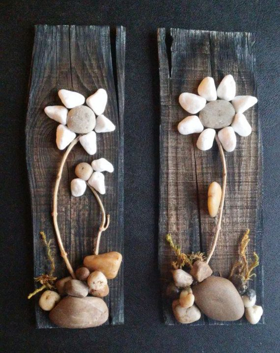 Pebble Art / Rock Art Flowers (set of 2) pretty white flowers set on reclaimed wood, approx. 15x3 (FREE SHIPPING)