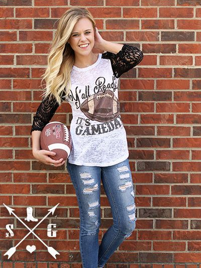 Y'all Ready? It's Game Day Football Baseball Tee Shirt Lace Sleeves