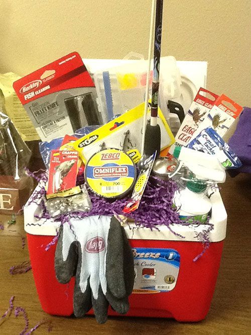 Fishing Gift Cooler    Give your guy a great gift basket, one that can hold their day's catch! Make this DIY fishing basket.
