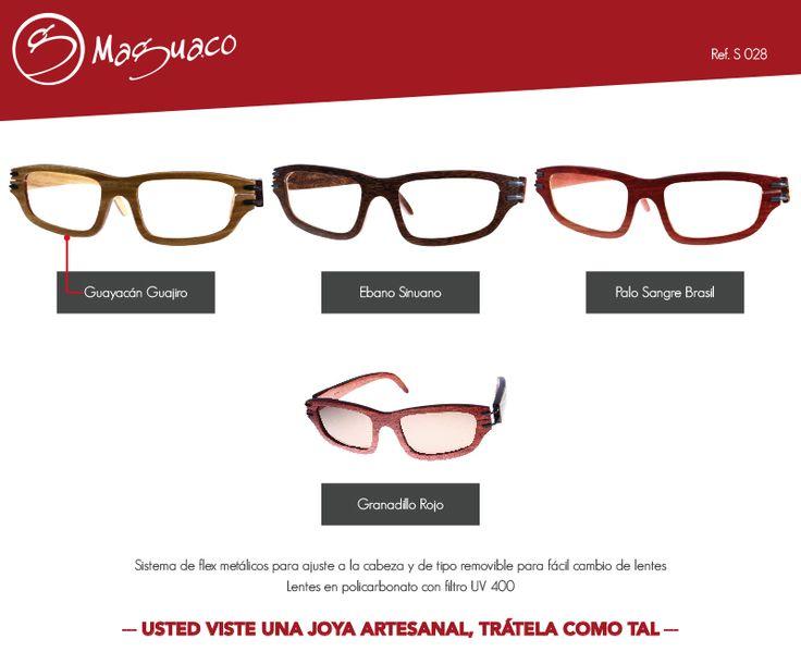 Gafas de sol en madera con filtro UV marca Maguaco S028. $200.000 COP