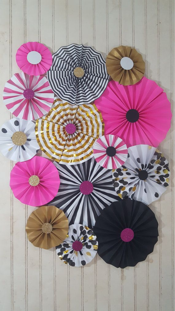 Kate Spade Inspired Black and Pink Rosettes Party or by eventprint