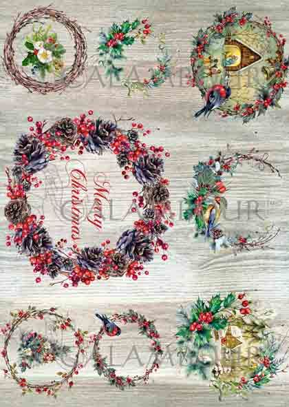 DGR - 315 - Mulberry Rice Paper - Christmas Garland, bird, pinecones and flowers