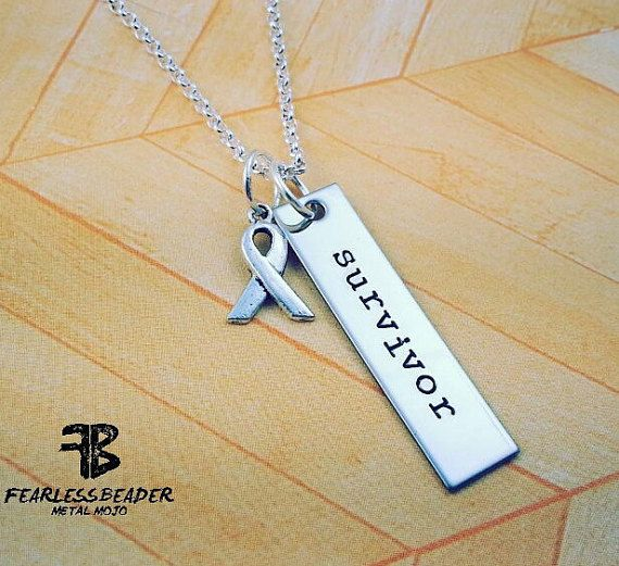 The Survivor Necklace makes a great gift for the FEARLESS man or woman in your life who inspires you who is surviving cancer or whatever battle