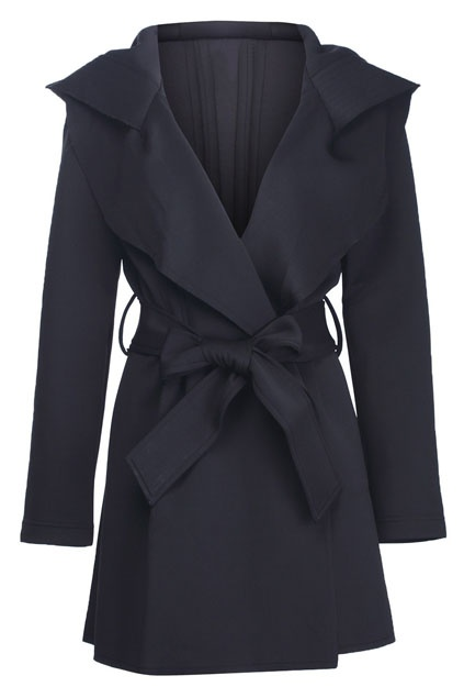 Slim hooded trench coat