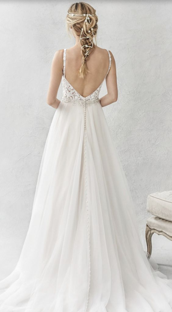 Featured Dress: Ella Rosa; Wedding dress idea.